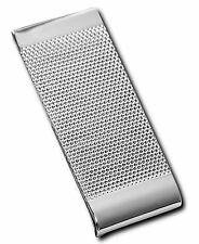 $75 KENNETH COLE MENS SILVER METAL RIDGED ONE SIDED MONEY CLIP METAL CARD HOLDER