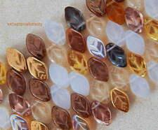 50 Assorted Honey Butter Mix Color Preciosa Czech Glass 12x7mm Leaf Drop Beads