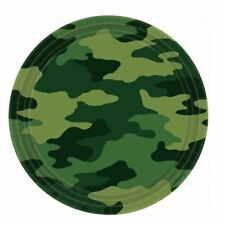 Army Camo 8 Paper Plates Boys Birthday Party Green Military Camouflage Round