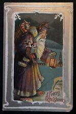 Long~Purple Robe ~Santa Claus with Toys~Lantern~Antique  Christmas Postcard-a-86