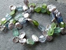 Collier argent avec fluorites, péridot et perles keishi