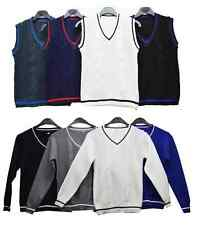 Boys NEW Knitted Vest Long Sleeve less Jumper/ Knit Waistcoat Top V Neck 2-10 Y