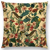 Floral cotton canvas cushion cover, william morris, woodland, rose, birds, grey
