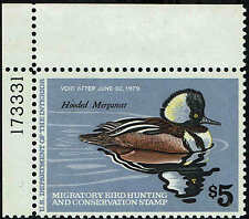 "RW#45 PLATE #173331 1978 $5 ""HOODED MERGANSER"" DUCK STAMP MINT-OG/NH"