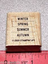Stampin Up It's a Date Stamp Single Winter Spring Summer Autumn Four Seasons