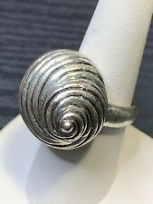 *Signed Lucky Brand Silver Tone Shelll Beach Chinky Ring Size 7.5