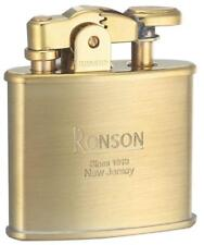 Ronson Standard Stylish Design Oil Lighter Brass Satin Gold Made in Japan F/S