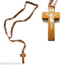 Herren Damen Holz Kette Halskette Rosenkranz mit Kreuz Jesus Kreuzkette Schwarz