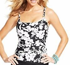 Island Escape Tankini Sz 12 White Black Floral Push up Swimwear Top R760748