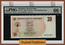 TT PK 40 2006 ZIMBABWE $20 - RESERVE BANK PMG 66 EPQ GEM UNCIRCULATED!