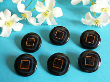 """417B/Chequerboard Buttons """" Square Gold """" Blue Night And Golden Lot 6 Ép. 1970"""