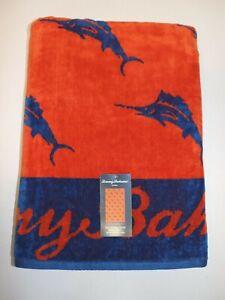 NWT $69 TOMMY BAHAMA 36x68 Orange and Blue MARLIN Velour Beach Towel