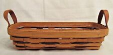 Longaberger Baskets Oblong Basket Leather Handles Vtg 1995 w/ Protector MINT