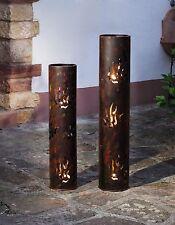 Große Windlicht-Säulen, 2er Set 80 u. 99 cm Metallsäule Lichtersäule Feuerschale