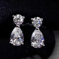 4 TCW Round & Pear Cut Diamond Real 14k White Gold Drop Stud Earrings