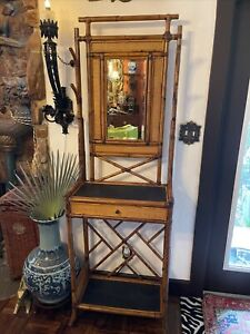 vintage bamboo hall tree with mirror and drawer