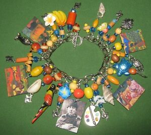 """ Women of Tahiti""-Paul Gauguin AL​TERED ART CHARM BRACELET"