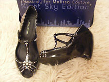 MELISSA COUTURE J MASKREY SWAROVSKI CRYSTAL BLACK PARTY SHOES 5  38 RARE! NEW