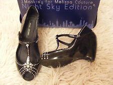 MELISSA Couture J maskrey Swarovski Crystal Black Scarpe Da Sera 5 38 RARA! NUOVO