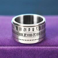 Unique Wide Turnable Number Clock Time Stainless Steel Finger Band Ring HOT