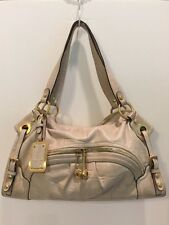 B. Makowsky Ivory White Croco Embossed Soft Leather Satchel Tote Bag Gold Metal