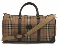 Authentic Burberrys Nova Check Travel Boston Bag PVC Leather Brown Beige C2001
