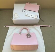 Authentic Christian Dior Medium Diorissimo In Pink Leather
