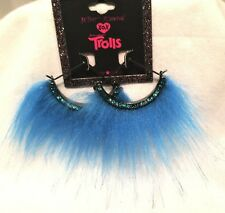 Betsey Johnson XOX Trolls Blue Faux Fur 1/2 Round Semi-Circle Fan Hoop Earrings