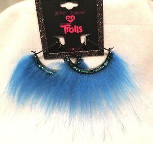 Betsey Johnson XOX Trolls Blue Faux Fur 1/2 Round Semi-Circle Fan Hoop Earrings