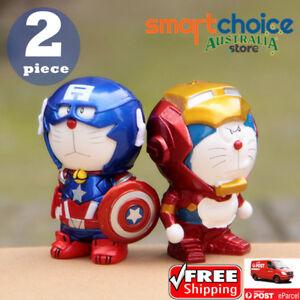 Doraemon Iron Man Captain America Figure Doll Kid Toy Decor Home Car Decor Doll