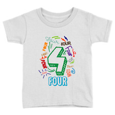 Big Four Kids T-Shirt 4th Year Old Birthday Announcement Git Top Present
