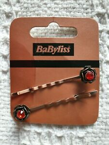 Babyliss Faux Red Diamond on Bronze Metal Fashion Hair Clips for Women and Girls