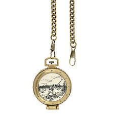Elgin Men's Antique style look Pocket Watch with Fisherman on Cover
