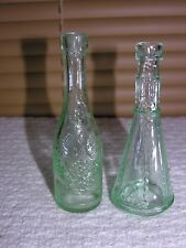 MINIATURE GREEN GLASS BOTTLES GRAPE VINE DESIGN KITCHEN SEEDS CRAFTS LOT 2