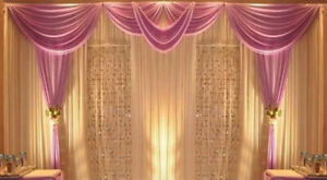 Sequin Silk Fabric Wedding Decoration Backdrops Stage Curtains Drapes with Swag