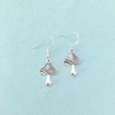 Beautiful MUSHROOM Silver Dangle Earrings.