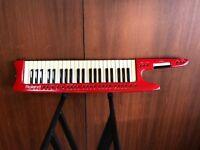 Rolands AX-1 Red Keytar MIDI controller keyboard w/ original case, power supply