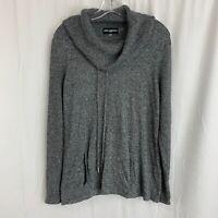 Karl Lagerfeld Paris Women's Sweater Gray Cowl Neck Long Sleeve Knit M