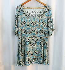 Rose & Olive Womens Stitch Fix Soft Knit Paisley Shirt Top Sz 1X Plus Size