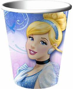 Cinderella Party Cups 8pk  266ml - Cinderella Sparkle Party Supplies