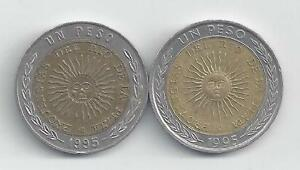 2 DIFFERENT BI-METAL 1 PESO COINS from ARGENTINA - BOTH 1995/1 with ERROR