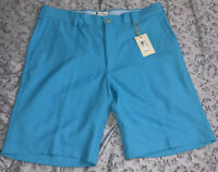 Mens Peter Millar Crown Sport Golf Shorts Blue Polyester Flat Front Size 34 $89