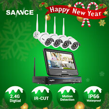 SANNCE Wireless 1080P 8CH 10.1'' Monitor NVR Outdoor WIFI Security Camera System