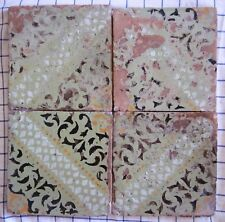 quattro riggiole piastrelle mattonelle maioliche antiche in cotto 20x20 lotto190