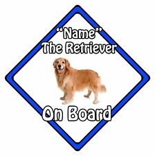 Personalised Dog On Board Car Safety Sign - Golden Retriever On Board Blue