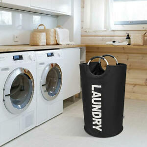 """Brand New  BIRDROCK HOME """"Oxford"""" Round Metal Ring Handle Laundry Bag in Black"""
