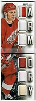 13-14 Panini Playbook BRETT HULL Armory patch glove skate #/50 Red Wings AWESOME