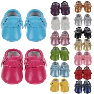 Cute Sofe Leather Baby Tassel Crib Shoes Infant Toddler Boy Girl Unisex 15Colors