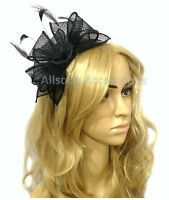 Large Black Headband Aliceband Hat Fascinator Wedding Ladies Race Royal Ascot 28