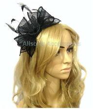 Large Black Headband Aliceband Hat Fascinator Wedding Ladies Race Royal Ascot